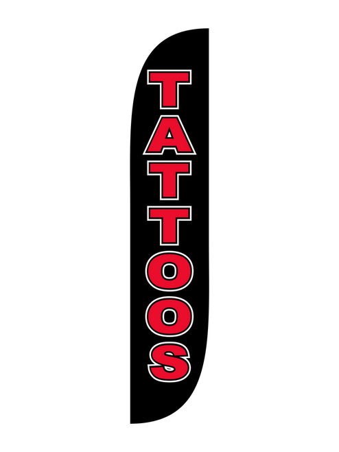 Tattoo Feather Flag Black & Red. Ready to show potential customers where to get inked for their next tattoo appointment? These tattoo feather flags in black & red are the perfect outdoor advertising tool to let them know where they should go for their tattoo needs. You work hard at designing quality tattoos, let us take care of your promotional advertising needs with  feather flags. In stock and ready to ship, get your business noticed now