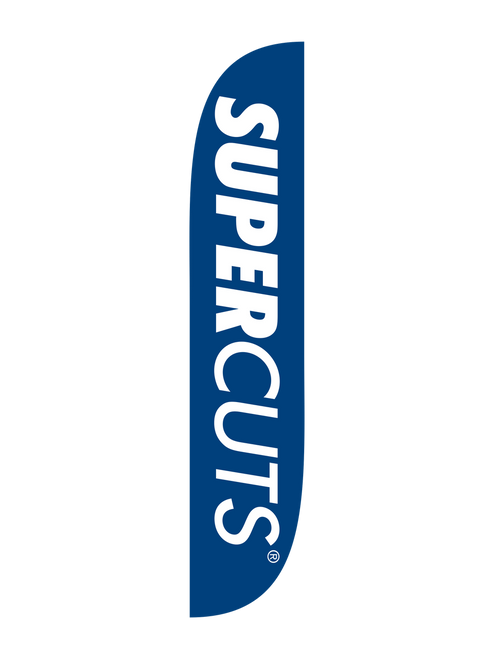 Supercuts Feather Flag 12ft in Blue. Need help attracting customers into your Supercuts location? Feather flags are the perfect, cost-effective way to bring potential customers into your Supercuts salon. Show everyone who passes by that your Supercuts business is ready to schedule their next hair appointment. In stock and ready to ship, let  help your business get noticed with the Supercuts Feather Flag!