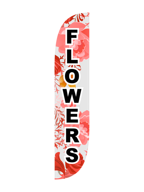 Flowers Feather Flag in 12ft size in Pink. It can be hard to find a store that sells good flowers. Stand out from the crowd by getting people to your store or flower shop today by displaying the 12ft Flowers feather flag. With the bold and direct message FLOWERS surrounded by a bouquet of flowers in the background, any passerby will immediately notice that good quality flowers can be found at your location. Feather flags are an excellent outdoor advertising choice because of their low cost and high impact qualities. In-stock and ready to ship today, get your Flowers feather flag today.
