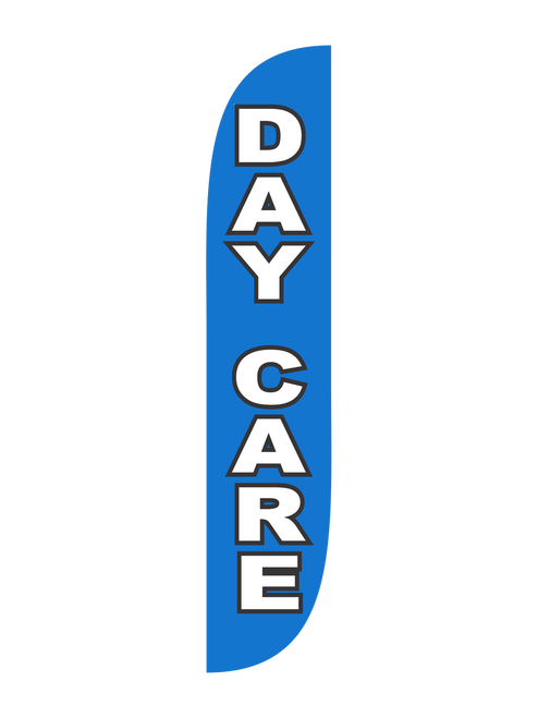 Day Care 12ft Feather Flag in Blue. These Blue Day Care Feather Flags are the perfect way to bring attention towards your day care! Show all the parents who pass by that your business is open and ready to help with their child care needs. Use feathers flags in the ground with our Ground Spike, or place them on the sidewalk with our X-Stand option. In stock and ready to ship out, let the promotional advertising experts help your day care get noticed with feather flags.