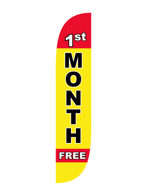 1st Month Free Feather Flag in 12ft size in Yellow. When your gym needs to tell everyone about your 1st Month Free enrollment promotion, look no further than  to help you get your message out there. This feather flag, clearly displaying the message 1st Month Free, is an excellent low cost high impact outdoor advertising tool. Portable, easy to use, and with bright bold colors, the  1st Month Free feather flag is in-stock and ready to ship today. Because, new year resolutions to get in shape happen all year round.