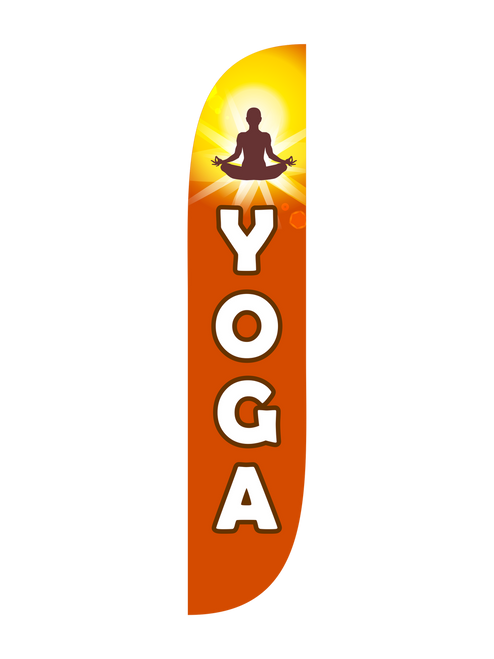Yoga Feather Flag in 12ft size in Red. Let all those passersby know right where to find your yoga studio by raising the 12ft Yoga feather flag. Any place you want to advertise Yoga classes is a good place; the feather flag is a perfectly portable advertising beacon. With bright bold colors, and an easily recognizable symbol, you'll let everyone in town know where to go to practice Yoga. In-stock and ready to ship now, let us get your Yoga studio noticed today!