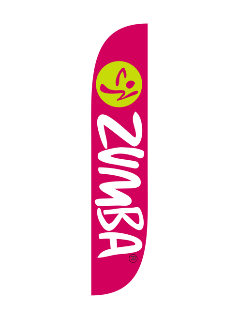 Zumba Fitness Purple feather flag. Are you a Zumba instructor looking for a way to boost enrollment in your Zumba classes? Let the feather flag do your Zumba advertising for you. Stake this 12ft feather flag in the ground by the busy street, or place it in an X Stand right outside the doors of the gym or rec center where you hold you Zumba classes. Dance up your enrollment numbers with the Zumba purple feather flag. The brand collection of fitness feather flags will get your business noticed immediately. Feather flags are the most cost effective and easiest way to spread the word about your businesses sale.  In stock and ready to ship today!