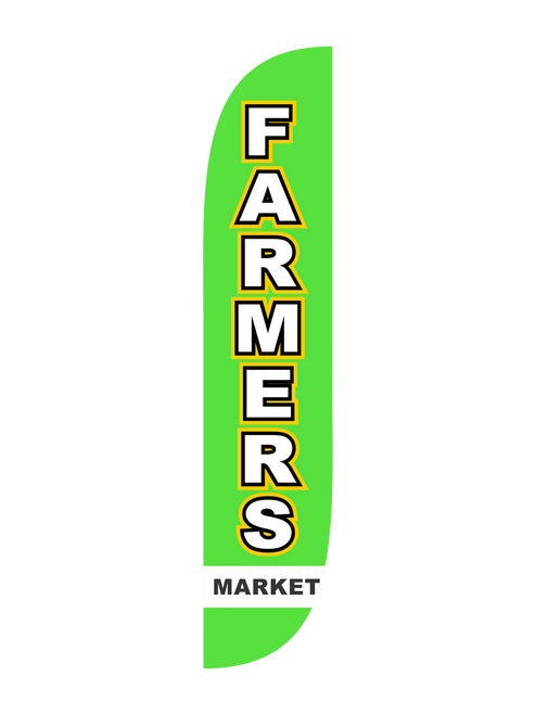 Farmers Market Feather Flag in 12ft size  in Green. Let everyone in town know about your farmers market by raising the 12ft Farmers Market feather flag. Feather flags are excellent outdoor advertising tools because of their low cost and high impact. Bold colors and concise messaging rule the sky; get all those passing cars to stop and visit your farmers market today. In-stock and ready to ship, let us get you noticed with the Farmers Market feather flag.