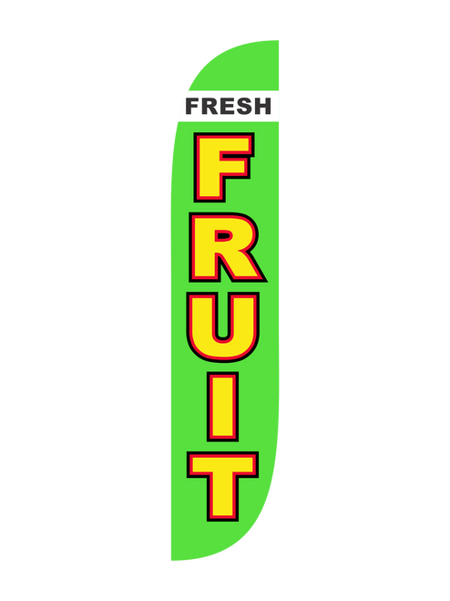 Fresh Fruit Feather Flag in 12ft size  in Green. Are you selling fruit at your local farmers market or fruit stand? Let everyone of those passing cars know that right here you're selling the freshest fruit in town. Straight from the fields and orchards of nearby farms, let everyone know where to get the best fruit in town with the 12ft Fresh Fruit feather flag. In-stock and ready to ship, feather flags are the perfect low cost high impact outdoor advertising tools. Get noticed today with the  12ft Fresh Fruit feather flag.  Feather Flag Comes With: