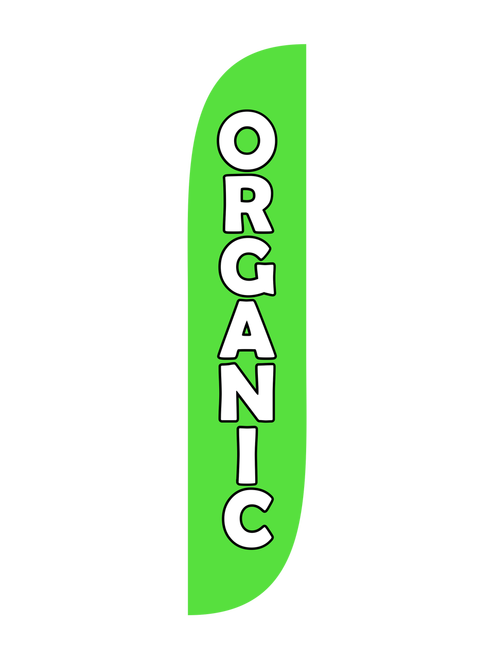 Organic Feather Flag in 12ft size in Green. Selling organic produce or fruit at your farmers market, fruit stand, restaurant, or food truck? Let everyone in town know with the green Organic 12ft feather flag. Feather flags are the ultimate portable low cost high impact outdoor advertising tools. Bold colors and concise messaging will cut through the competition and get you noticed. In-stock and ready to ship, the Organic feather flag will help bring the customers to you