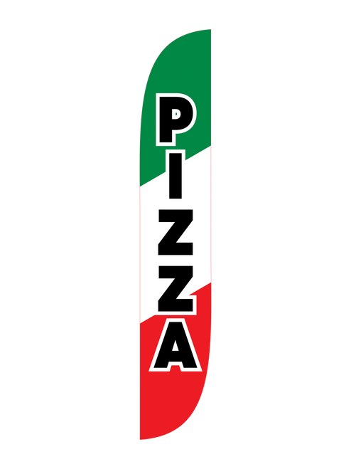 12 Foot Green, White & Red Pizza Feather available through. Get potential customers in the Italian spirit with this Green, White & Red Pizza feather flag. You work hard to cook the best pizza in town, we are here to help you tell your potential customers where to get it. People who pass by will remember where to get their pizza when they see Pizza Feather Flag. These Pizza Feather Flags are easy to use and ready to ship. Get yours today!