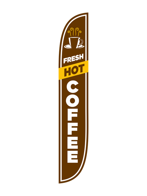 Everyone loves Hot Coffee!! 12 Foot Brown Fresh Hot Coffee Feather Flags will gain your business customers and remind individuals that they are in the mood for some fresh hot coffee.  feather flags are a great way to advertise your fresh hot coffee. These Feather Flags are in stock and read to ship to your business. Get your  Fresh Hot Coffee Feather Flag today!  Feather Flag Comes With: