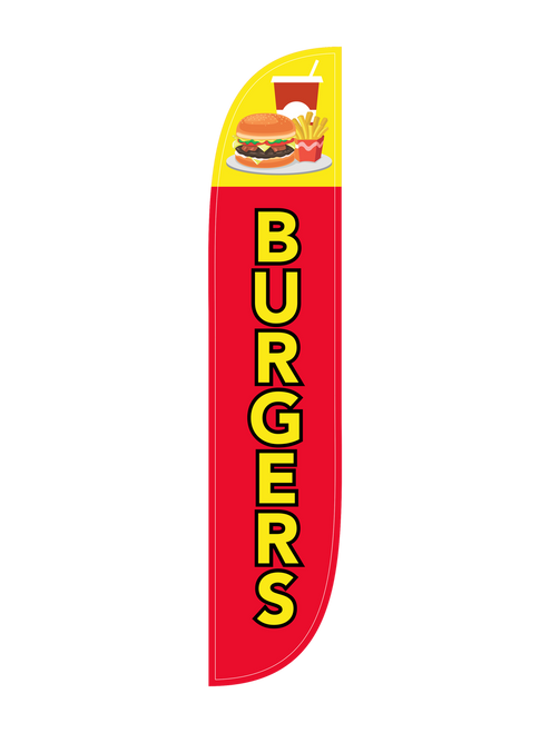 Burgers Feather Flag in 12ft size in Red. Hot off the grill  brings you the Burgers feather flag; complete with clear messaging and images of a burger, fries, and soda. Let our feather flags do the heavy lifting for you, so you can concentrate on cooking up the best burgers in town. The feather flag is a great low cost, high impact, and mobile outdoor advertising tool. In-stock and ready to ship today, get your restaurant, bar, food truck, or burger stand the Burgers feather flag today.