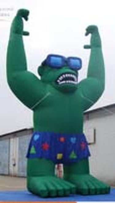 Green Inflatable Gorilla with Glasses and Shorts