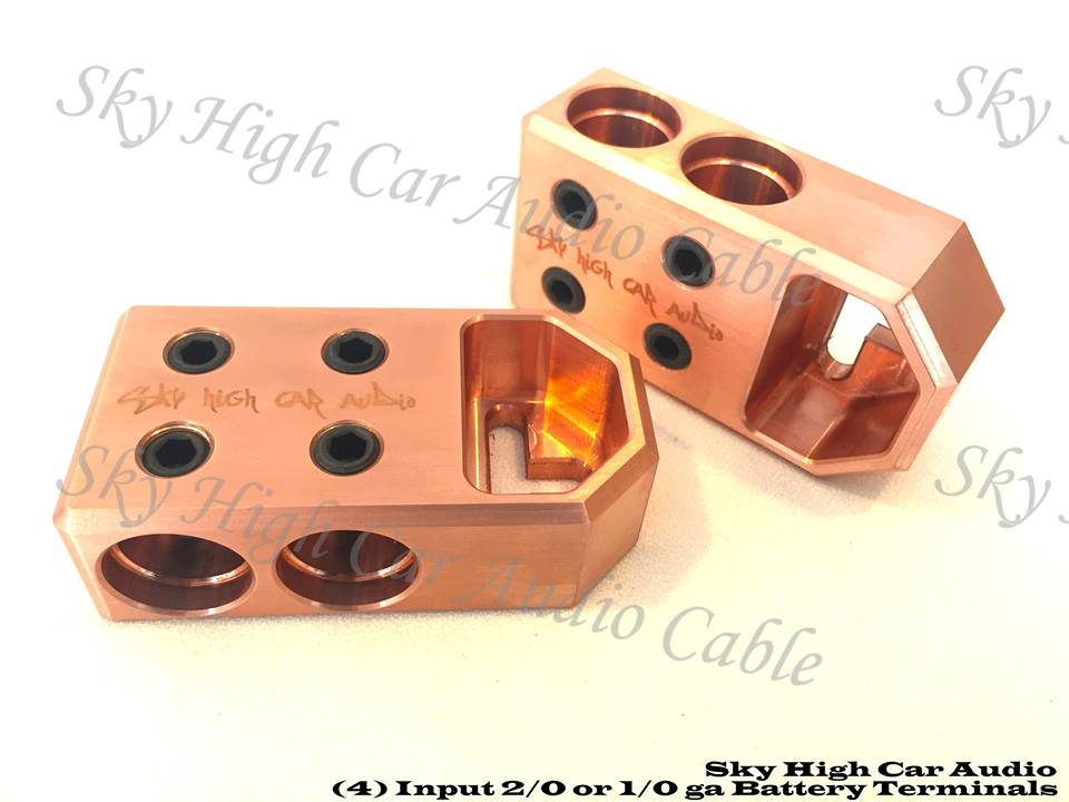 Copper Sky High Car Audio 4 - 1/0 or 2/0 Copper Battery Terminals