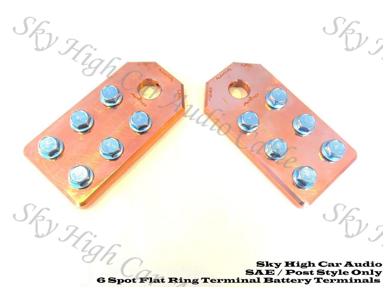 Copper Sky High Car Audio SAE Flat 6 Spot Battery Terminals