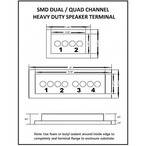 """SMD 2 Channel Heavy Duty Speaker Terminal (Grade 8) (3/4"""" PVC Black)"""