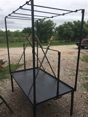 """Fire Table Sword Package Includes Sword Rod Stand, 4 Swords, and 54"""" X 12"""" Hanging Grill mounts on 63"""" X 36"""" Fire table"""