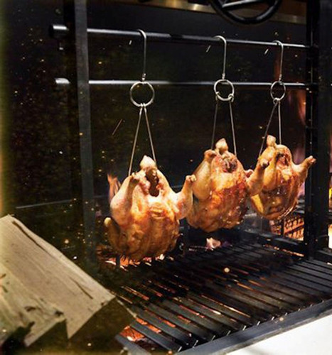 Chicken or Duck Roasting Hooks for a Charcoal or Wood Fire