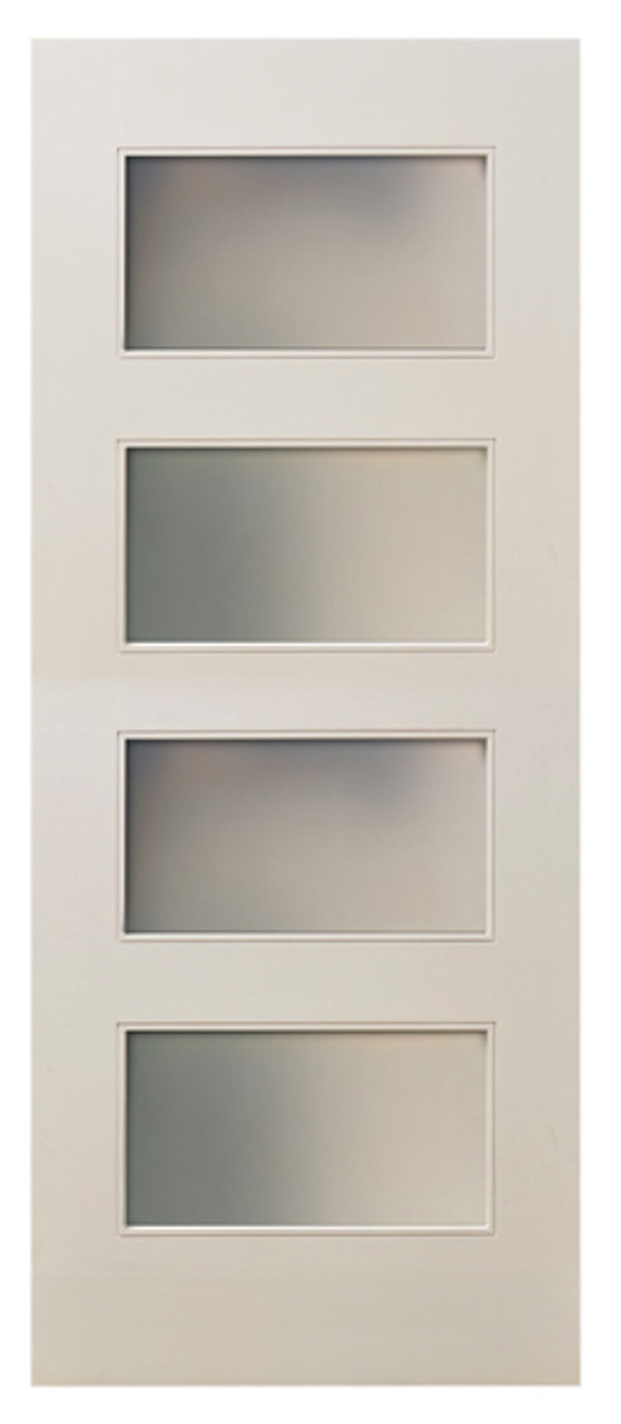 MDF White Primed 80  Interior Door 4-Lite Frosted Glass & MDF White Primed 80