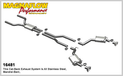 """Magnaflow 2.5"""" Stainless Steel Street Series Cat-Back for 2010+ Camaro SS V8 6.2L; Excl. Convertible (GM PERFORMANCE PACKAGE ONLY)"""