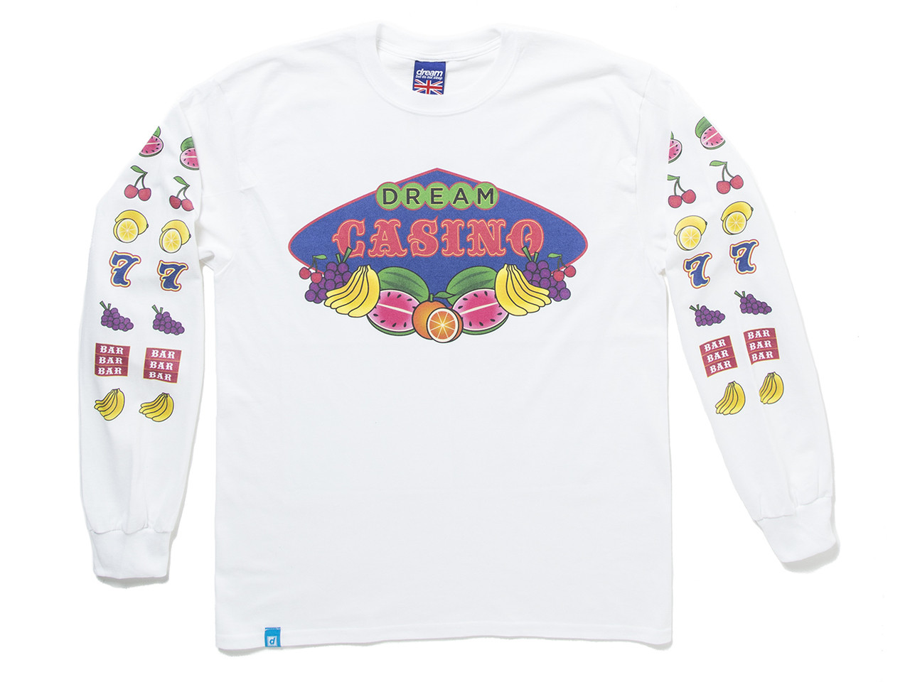 Fruity Casino Slots Design On White Long Sleeved T-shirt