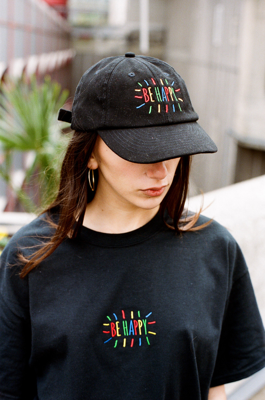 Black Cap With Be Happy Embroidered Design