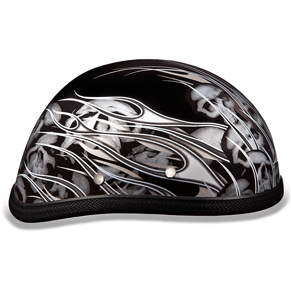 Silver Flames with Skulls - Eagle Novelty Helmets by Daytona XS S M L XL 2XL