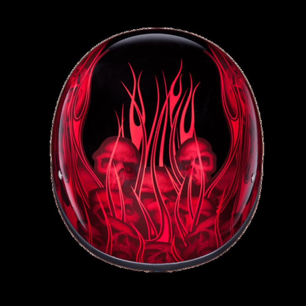 D.O.T. DAYTONA SKULL CAP- W/ MULTI SKULL FLAMES RED
