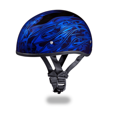 D.O.T. DAYTONA SKULL CAP- W/ MULTI SKULL FLAMES BLUE
