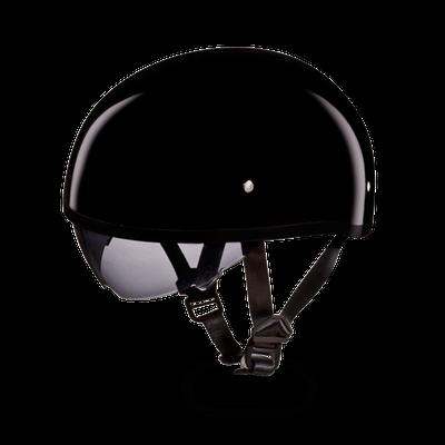 D.O.T. DAYTONA SKULL CAP W/ INNER SHIELD- HI-GLOSS BLACK