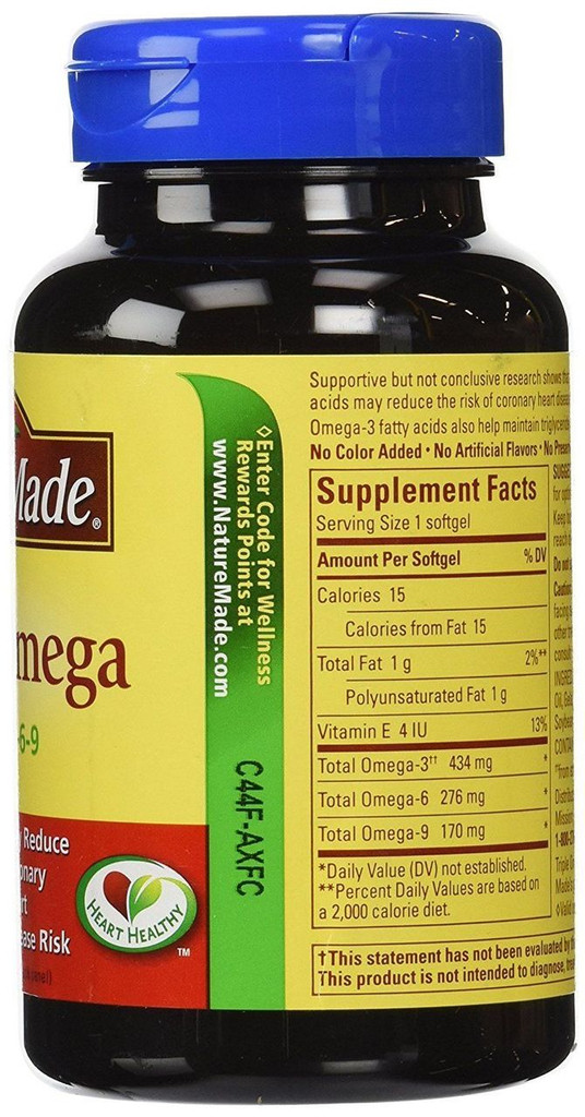 Nature Made Triple Omega 3-6-9 Fish, Flaxseed, Safflower & Olive Oils, 60 Counts