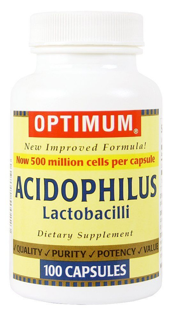 Optimum Acidophilus Lactobacilli Capsules, 100 Count