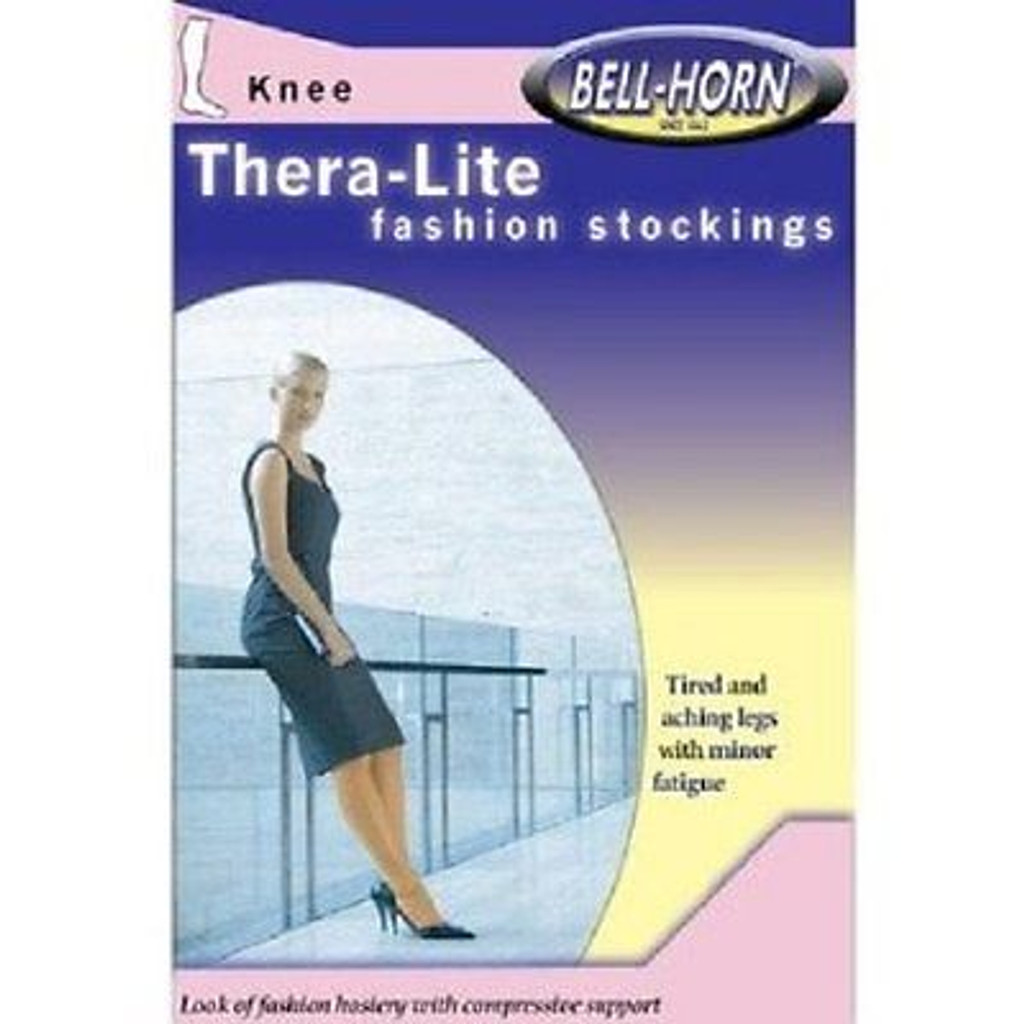 Bell-Horn TheraLite 9-15mmHg Knee-high Close Toe Stocking in Beige Size: Medium