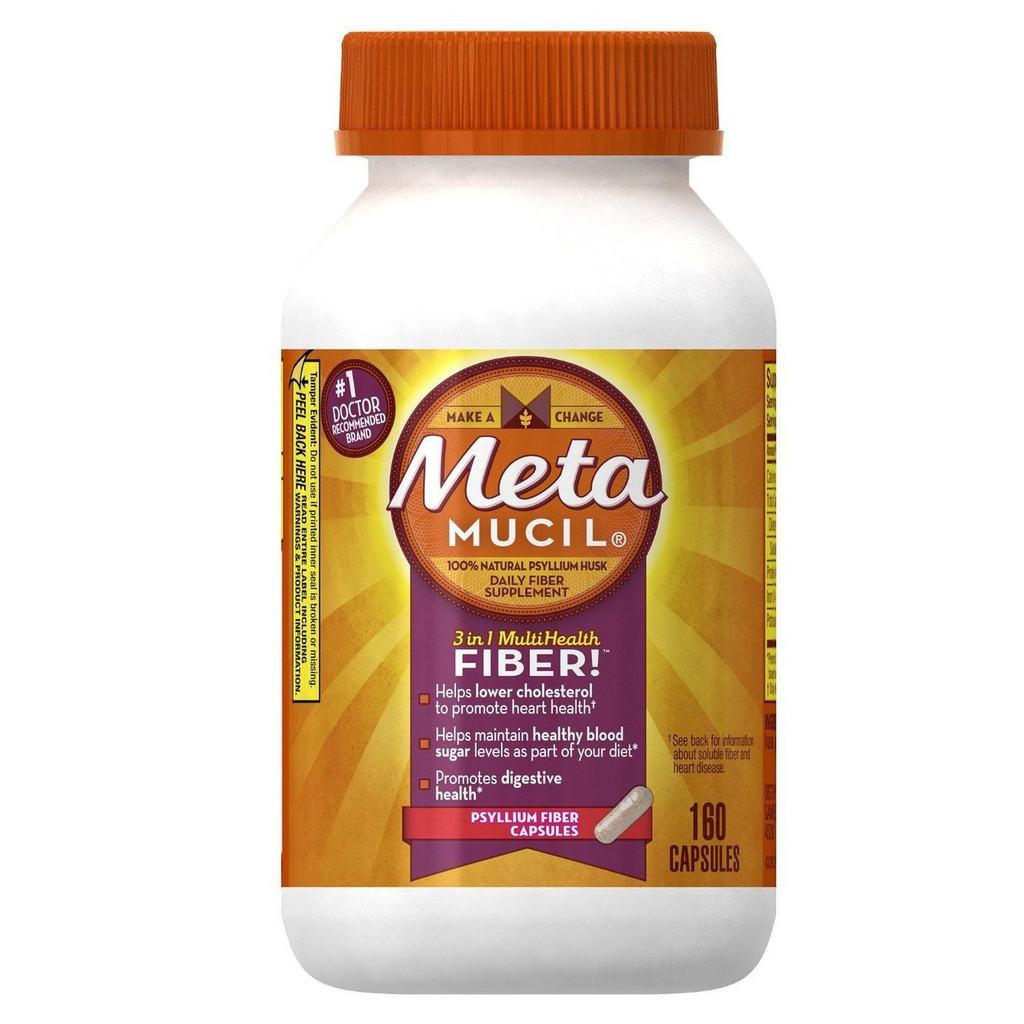 Metamucil Psyllium Fiber Supplement Capsules by Meta, 160 Count