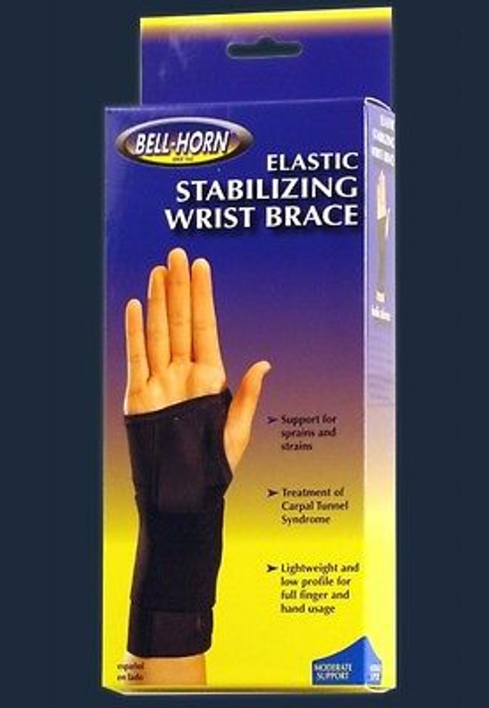 Bell-Horn Elastic Stabilizing Wrist Brace in Black Size: Small, Wrist: Left