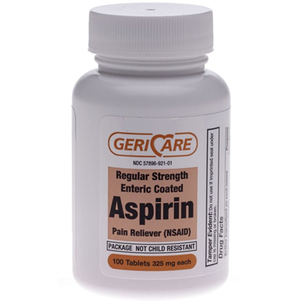 GeriCare Aspirin 325 MG 1000 Tablets Pain Reliver Fever Reducer Enteric Coated