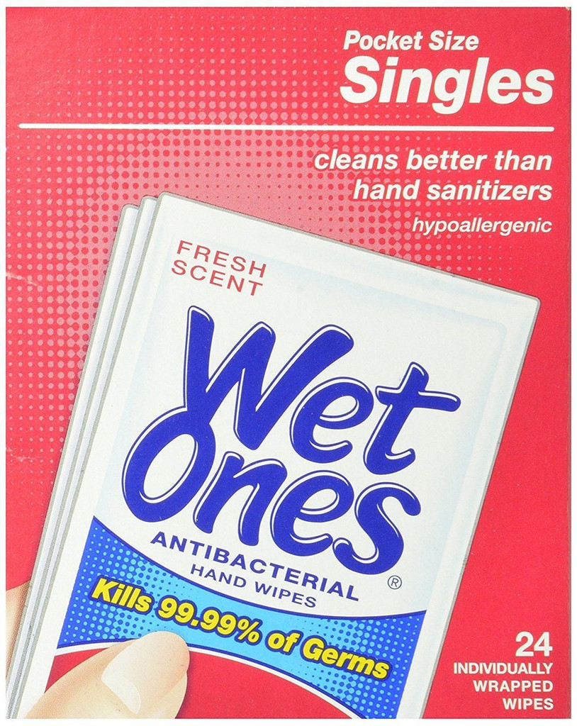Wet Ones Antibacterial Hand and Face Wipes Singles 24 Count