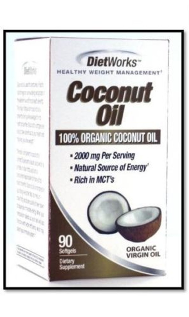 DietWorks Coconut Oil Softgel Cap 90 Ct Supports weight loss
