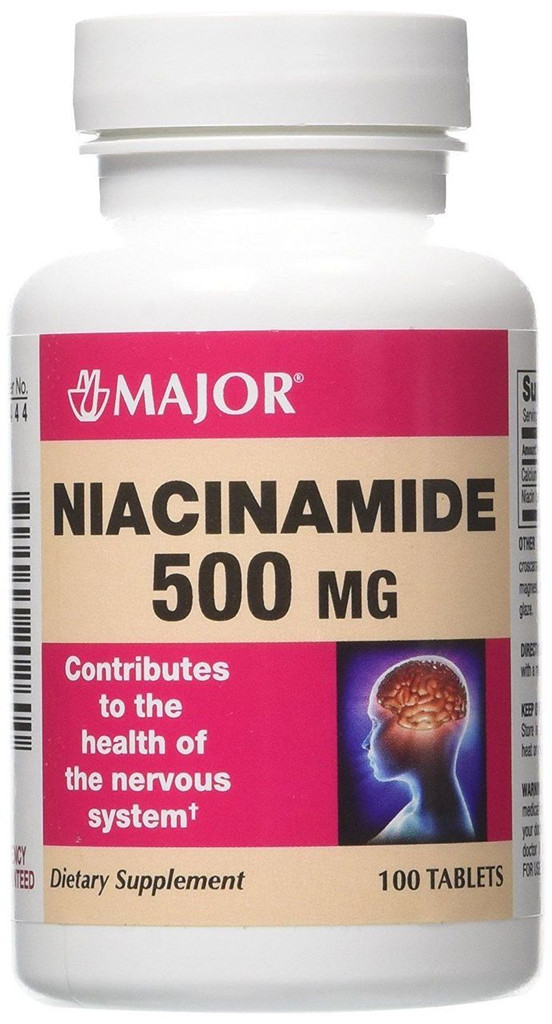 Major Niacinamide 500 mg 100 Tablets, for the health of Nervous System