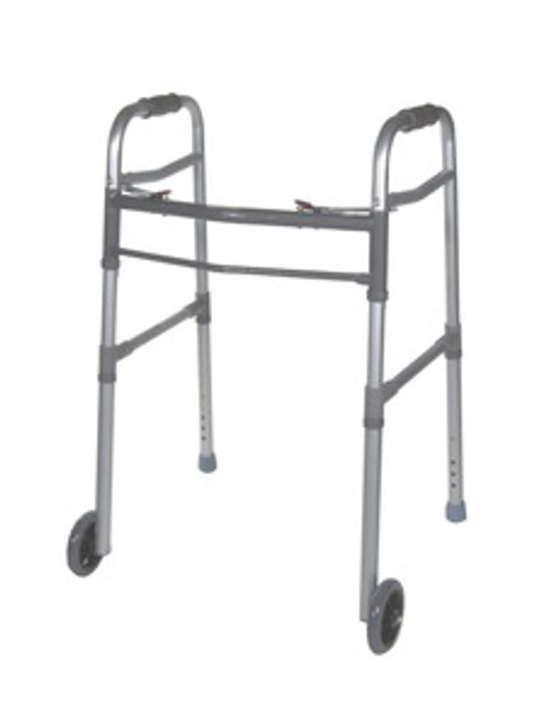 """Drive Adult/Junior Deluxe Folding Walker, Two Button with 5"""" Wheels, Universal"""