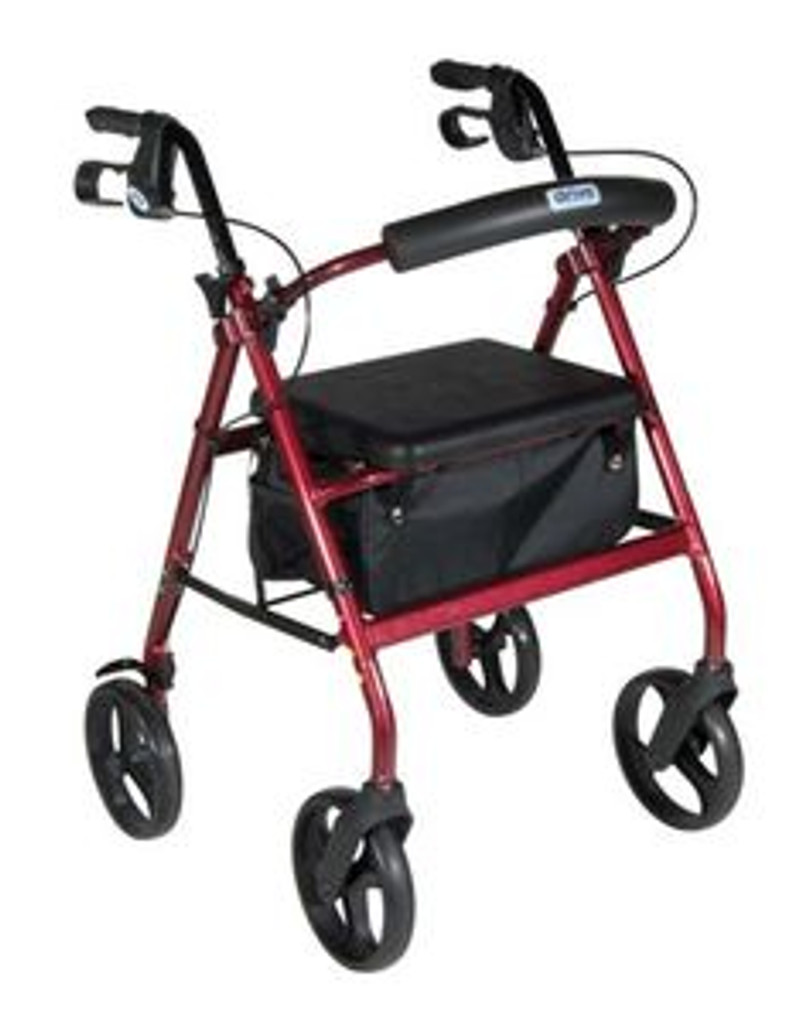 """Drive Aluminum Rollator w/Fold Up and Removable Back Support, Padded Seat, 8"""" Casters w/Loop Locks"""