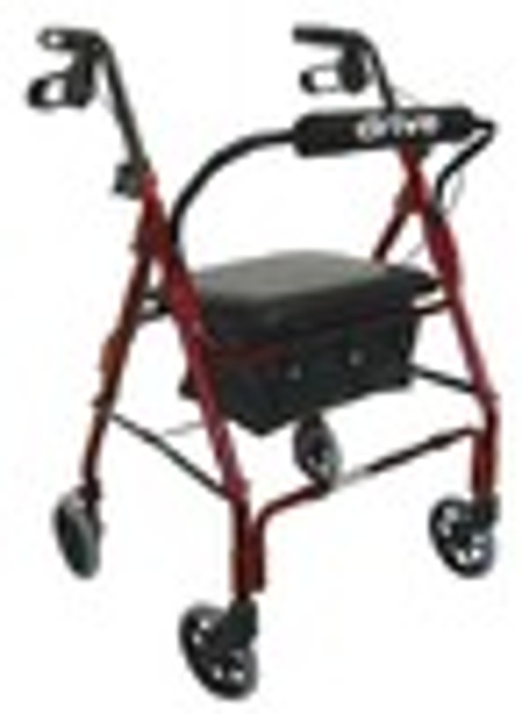 "Drive Go-Lite Deluxe Aluminum Rollator, Padded Seat, 6"" Casters with Loop Locks"