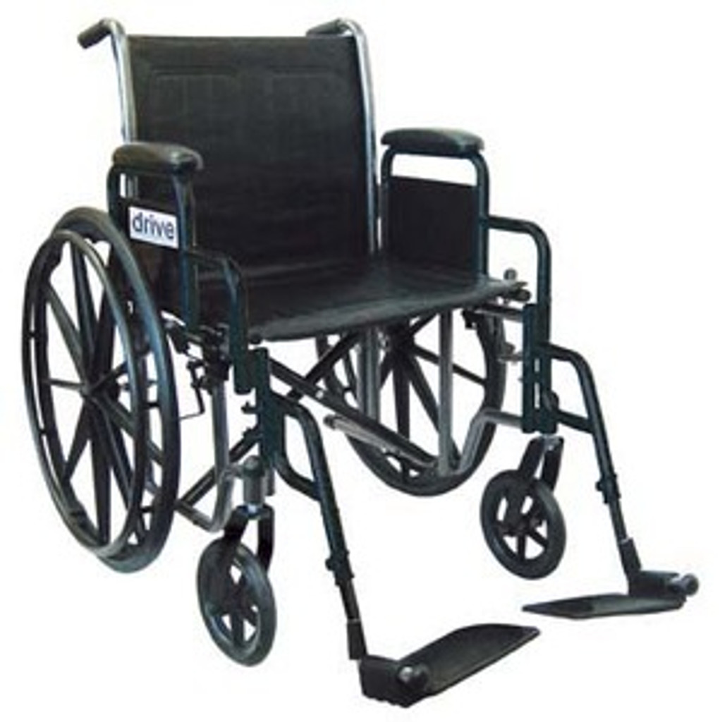 """Drive 16"""" Silver Sport 2 Dual Axle with Swing Away Footrests"""