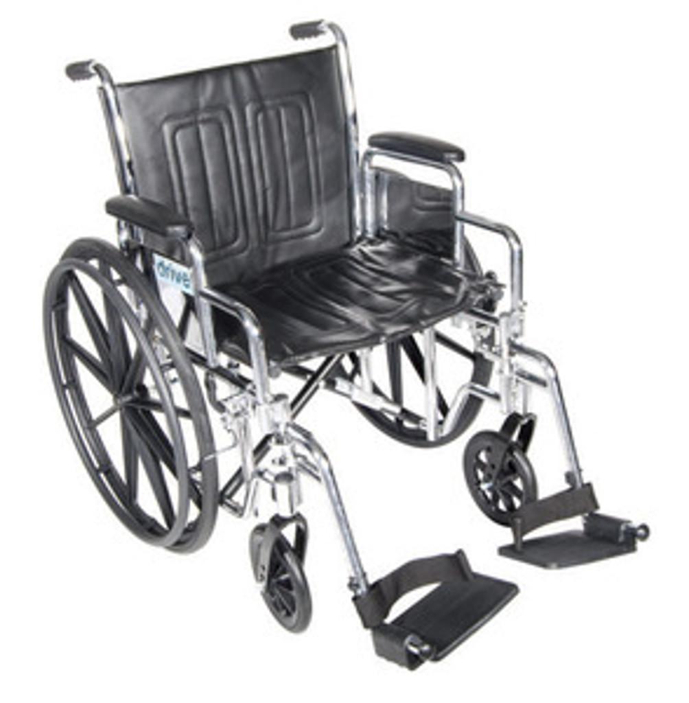 "Drive 18"" Chrome Sport Adjustable Height, Detachable Desk Arm, Swing-Away Elevating Legrest"