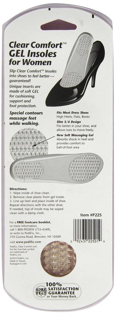 Pedifix Clear Comfort GEL Insoles for Women