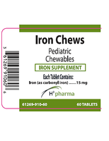 H2 Pharma IRON CHEWS 15mg iron pentacarbonyl 60 chewable tablets