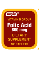 Rugby Folic Acid 800 mcg Vitamin B Group Dietary Supplement 100 Tablets