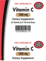 AvKARE Vitamin C Ascorbic Acid 1000mg 5X10 UD 50 Tablets Dietary Supplement