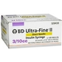 BD Ultrafine II U-100 Insulin Syringe 31 Gauge 3/10cc 5/16inch Short Needle 100/box (328438)