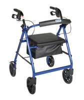 """Drive Aluminum Rollator w/Fold Up and Removable Back Support, Padded Seat, 8"""" Casters w/Loop Locks DRVR728BL"""