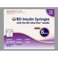 BD Insulin Syringe with Ultra-Fine Needle 3/10mL 6mm 31 G (324909) - Box of 100