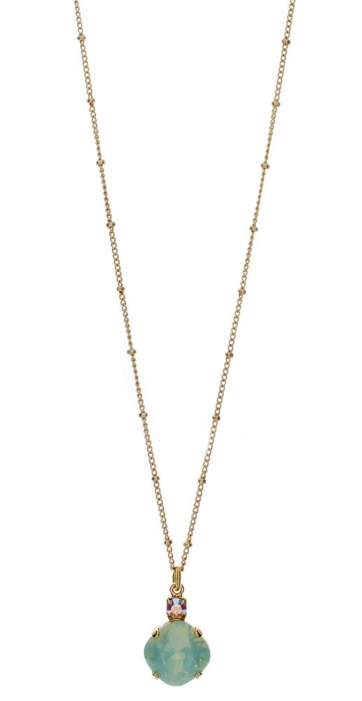 Necklace - Single Drop 12mm Square  - Gold Tone