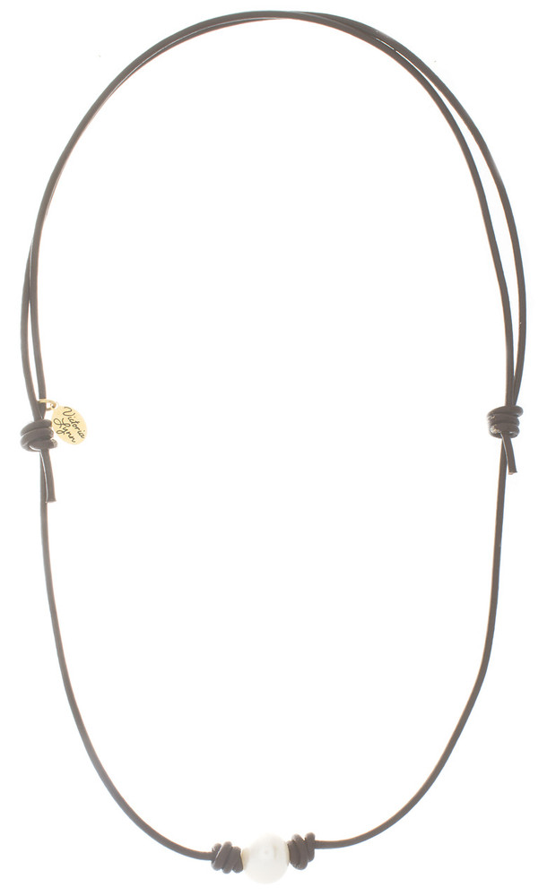 Necklace Leather and Pearl Beach Pearl 1#